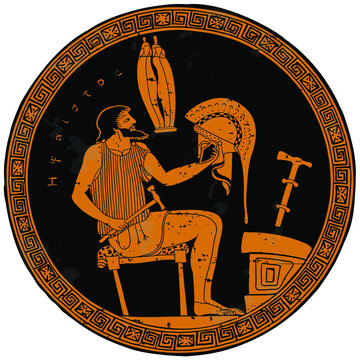 The ancient Greek god Hephaestus sits on a chair and creates a helmet for a warrior. Drawing on the bottom of a ceramic pot.