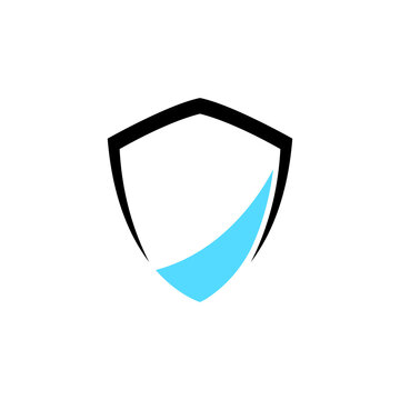 shield simple logo template ready for use, shielding icon in black and blue color, security and protector symbol