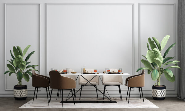 Interior design mock up of dining room with stylish modular beige chairs, wooden floor, plants, neutral room divider, decoration and elegant accessories, Modern home decor, white wall, 3D rendering