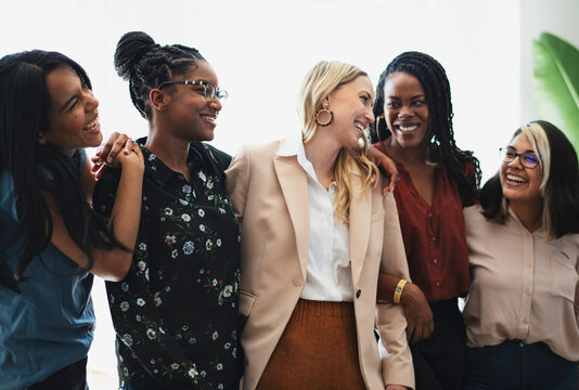 Diverse confident businesswomen standing together