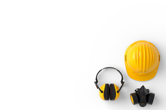 Set of construction wear for repair and installation on white background