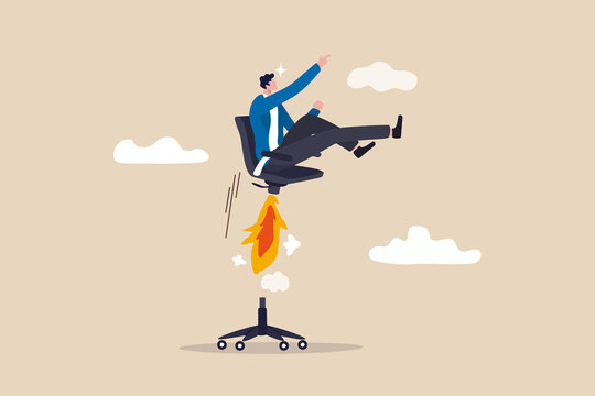 Boost your career development, job promoted to higher position or start new opportunity and motivation to succeed concept, businessman sitting on take off office chair with jetpack or rocket booster.