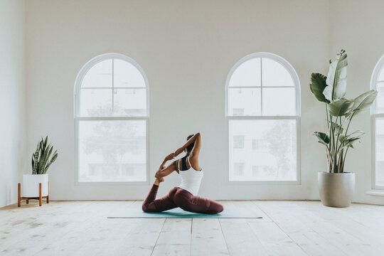 Yogi at a minimal yoga studio