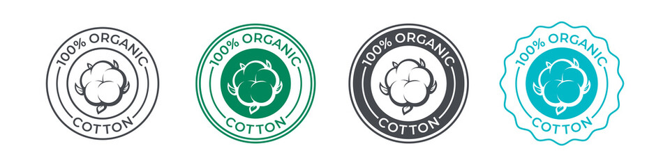 Fototapeta Cotton, organic 100 icon, flower vector logo for eco and natural bio soft fabric. 100 percent cotton badge for textile clothes, green vegan cosmetics and sanitary hygienic pads or tampons