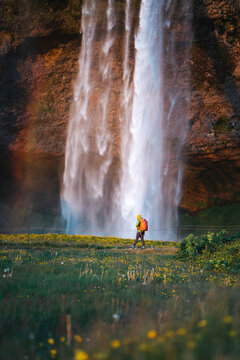 Traveler by a waterfall