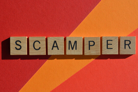 Scamper,  business acronym, a word to help create ideas for new products,  Substitute, Combine, Adapt, Modify, Put to another use, Eliminate, and Reverse