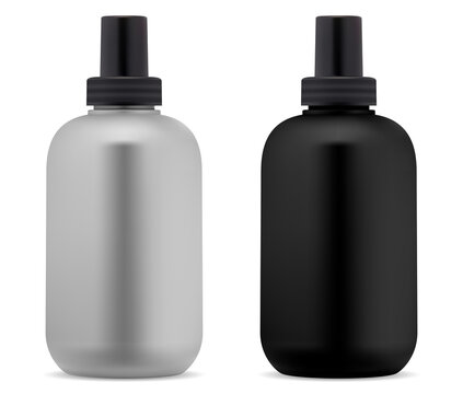 Shampoo bottle. Black, white cosmetic package blank. Shower gel bottles vector design. Plastic container mock up blank for liquid cosmetic soap. Beauty product tubular packaging, bathroon hygiene