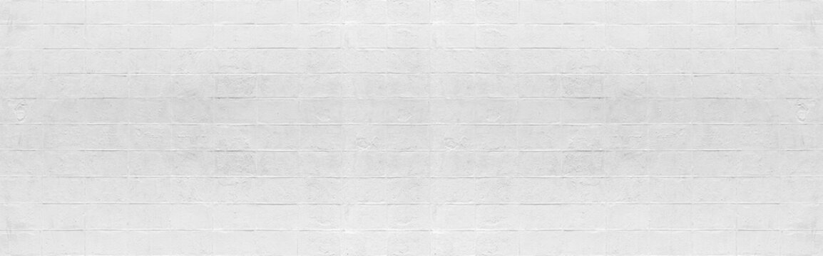 Panorama of White cement block fence texture and seamless background