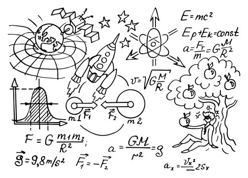 The law of force of gravity. Physical equations, formulas and schemes on whiteboard. Vector hand-drawn illustration. Vintage scientific and educational background.