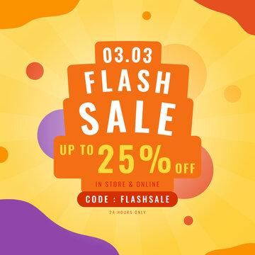 3.3 Flash sale promotion banner. Trendy design template for advertisement, social media, business, fashion ads, etc. Vector illustration.