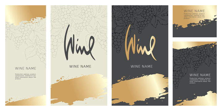 Collection labels for wine. Vector illustration, set of backgrounds with grapes and gold strokes.