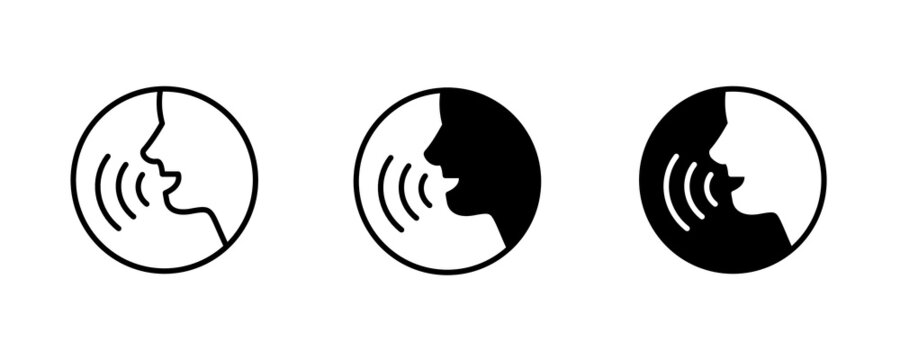 People talking icon. Voice command with sound waves icon vector.