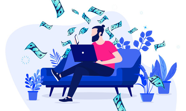 Side hustle - Man sitting in sofa at home working on his second income online. Money making hobby concept. Vector illustration.