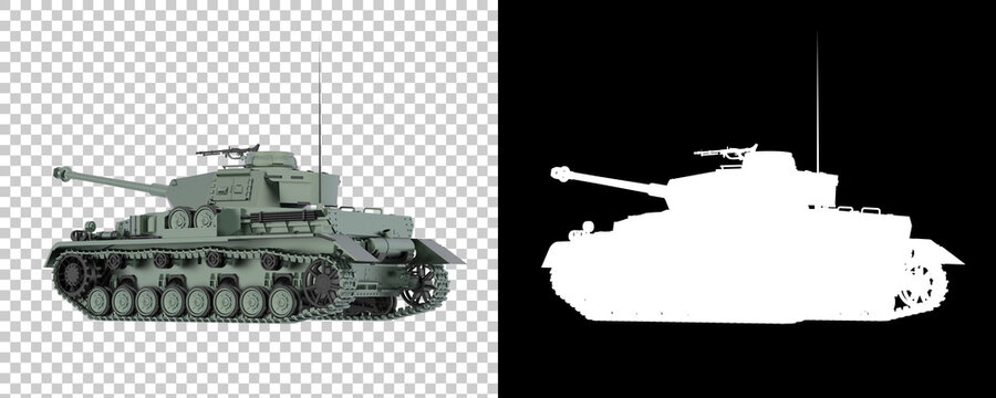 Tank isolated on background with mask. 3d rendering - illustration