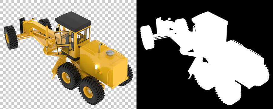 Snow plow machine isolated on background with mask. 3d rendering - illustration