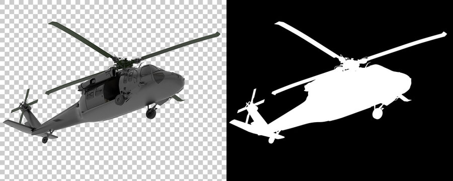 War helicopter isolated on background with mask. 3d rendering - illustration