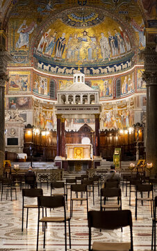 ROME, ITALY - Jan 30, 2021: Santa Maria Maggiore - interior with chairs in social distance setting