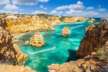 Wall Mural - Landscape with beautiful Praia da Marinha, one of the most famous beaches of Portugal, located on the Atlantic coast in Lagoa, Algarve