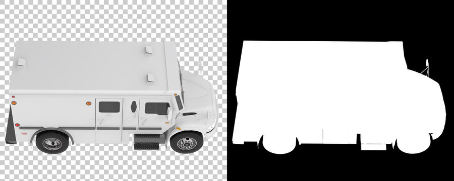 Armored truck isolated on background with mask. 3d rendering - illustration