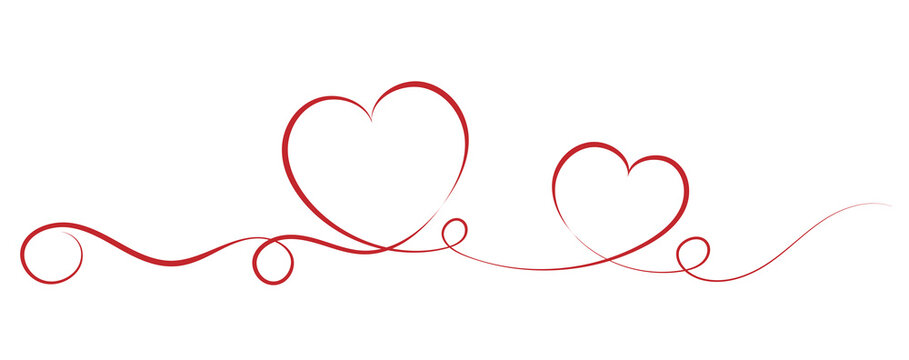 red single stroke ribbon banner with heart shapes, love and affection vector illustration