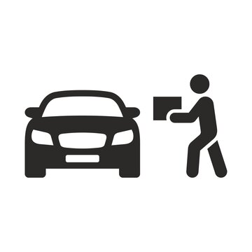 Curbside pickup icon. Order pickup. Vector icon isolated on white background.