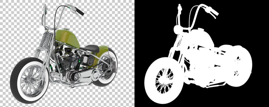 Motorcycle isolated on background with mask. 3d rendering - illustration