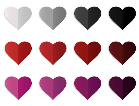Form of love with three types of degraded colors