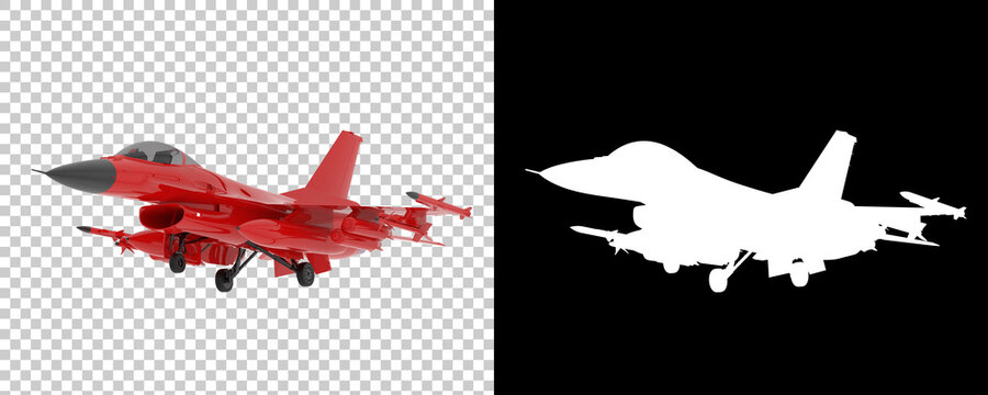 Jet fighter isolated on background with mask. 3d rendering - illustration