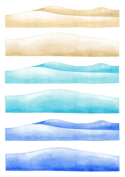 Collection of the watercolor sandy underwater bottoms in 3 color versions