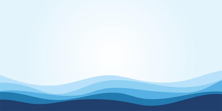 Blue water wave line deep sea pattern background banner vector illustration.