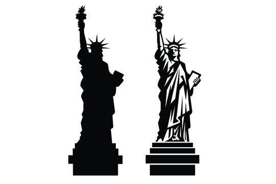 New York Statue of Liberty Vector silhouette.vector illustration EPS 10