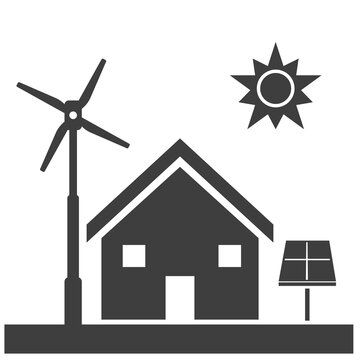 Eco Friendly Home Conservation Self-Reliance - Black Vector Silhouette Illustration