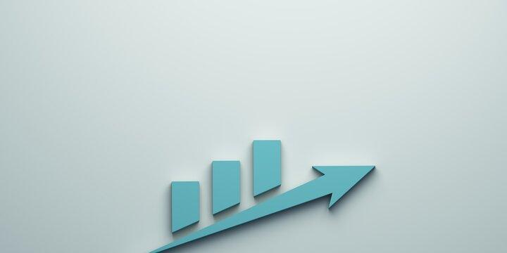 Arrow Finance Going up. 3D Render Illustration.