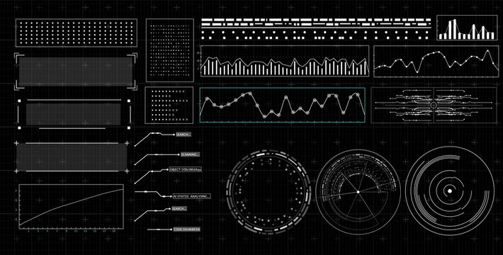 HUD futuristic interface. Hitech display with infographic elements. Dashboard with chart, diagram, line, graphic and data.