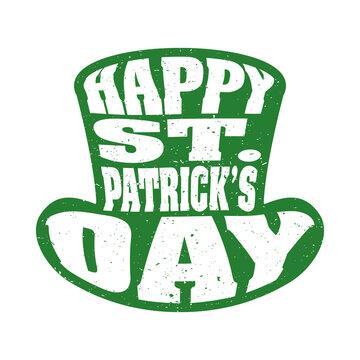 happy saint patricks day lettering in leprechaun tophat silhouette