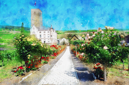 Watercolor painting of cityscape of Ruedesheim in Rhine gorge in Germany.