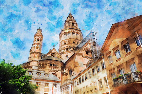 Watercolor painting of Mainz Cathedral in Germany.