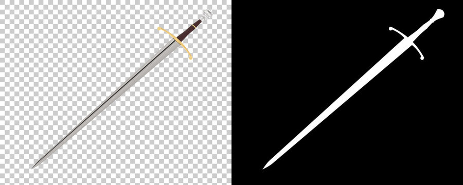 Long sword isolated on background with mask. 3d rendering - illustration