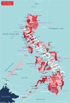 Philippines detailed editable map with regions cities and towns, roads and railways, geographic sites. Vector EPS-10 file