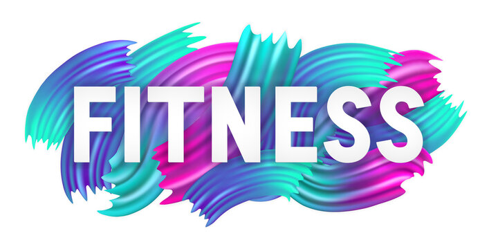 Fit gym. Text fitness banner. Color poster. Colored sport banner. Workout background. Healthy lifestyle. Word concept health. Design font card, flyer, sticker, template, label, layout, prints. Vector