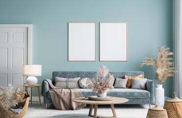 Fototapeta Home interior mock-up with blue sofa, wooden table and decor in modern living room, 3d render obraz