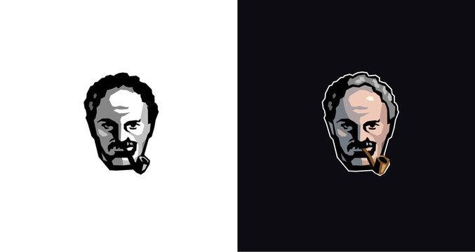 Fisherman captain smoke pipe mustache man male face logo design barber shop vintage design logo template