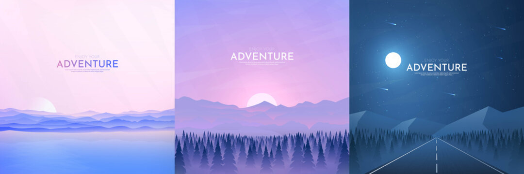 Vector illustration. Landscapes collection. Flat cartoon style. Triangle shapes. Misty forest, sunset scene, night highway. Design for banner, blog post, social media template, card.