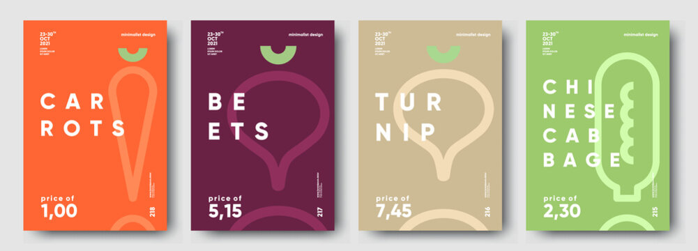 Carrots, Beets, Turnip, Chinese cabbage. Price tag, label or poster. Set of posters, vegetables and herbs in a minimalist design. Flat vector illustration.