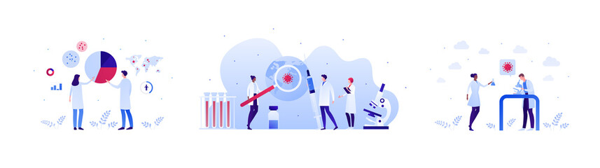 Fototapeta Vaccination and virus study concept. Vector flat people illustration set. Red shield symbol. Male and female team of scientist research. Planet earth with covid19 symbol. Infographic chart sign.