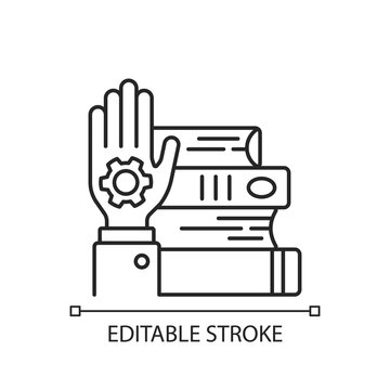 Hands-on learning linear icon. Workshop icon. learning by doing. Mastery development. Thin line customizable illustration. Contour symbol. Vector isolated outline drawing. Editable stroke