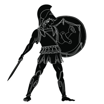 Ancient Greek warrior with a sword and shield in his hands is standing ready to attack. Vector illustration isolated on white background.