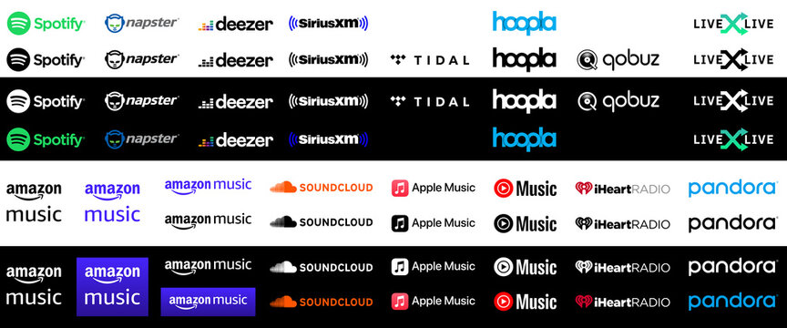 Collection of popular music streaming services vector logos.