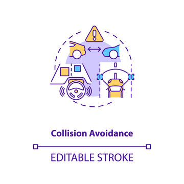 Collision avoidance concept icon. Cyber-physical system usage idea thin line illustration. Collision-avoidance controller. Automatic braking. Vector isolated outline RGB color drawing. Editable stroke