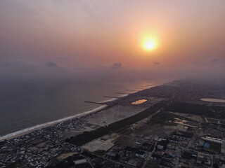An aerial image of the Lekki sea shore at sunset